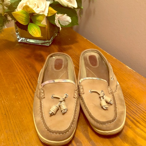 Sperrys Slide Ons Non Marking Boat Shoes Tan